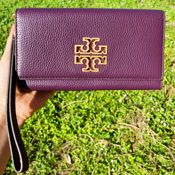 Tory Burch Britten Large Continental Wallet Smartphone Wristlet Plum Purple