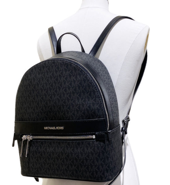 Michael Kors Kenly Abbey Medium Backpack Black MK PVC Leather Front Pocket