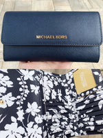 Michael Kors Jet Set Travel Large Trifold Wallet Navy Blue White Floral - Gaby's Bags