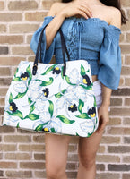 Tory Burch Kerrington Large Square Tote Garden White Floral Laguna - Gaby's Bags