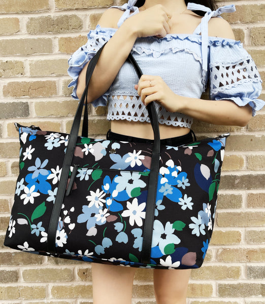 Kate Spade Jae Bold Blooms Floral Weekender Bag Travel Bag Black Blue Multi