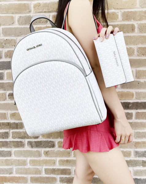 Michael Kors Abbey Large Backpack White MK + Trifold Wallet - Gaby's Bags