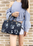 Kate Spade Briar Lane Night Rose Meena Satchel Leather Crossbody Bag Navy Floral - Gaby's Bags