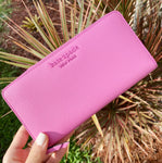Kate Spade Cameron Neda Zip Around Continental Wallet Bright Peony Pink