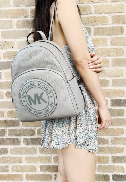 Michael Kors Fulton Sport Abbey Medium Backpack Grey Pebbled LeatherMK LOGO