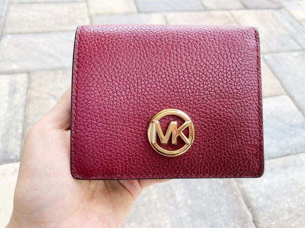 Michael Kors Fulton Carryall Card Case Wallet Mulberry Burgundy Leather - Gaby's Bags