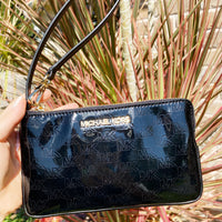 Michael Kors Jet Set Large Gusset Wristlet Patent Leather Black MK Signature
