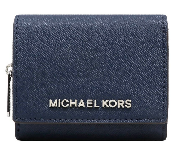 Michael Kors Jet Set Travel Small Multifunctional Zip Around Case Wallet Navy - Gaby's Bags