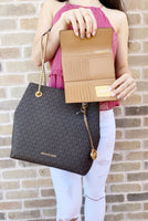 Michael Kors Jet Set Travel Chain Shoulder Tote Brown MK Signature + Wallet SET