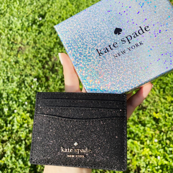 Kate Spade Lola Joeley Glitter Card Holder Wallet Black Gift Box