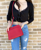 Michael Kors Emmy Cindy Dome Medium Top Zip Crossbody Saffiano Leather Red