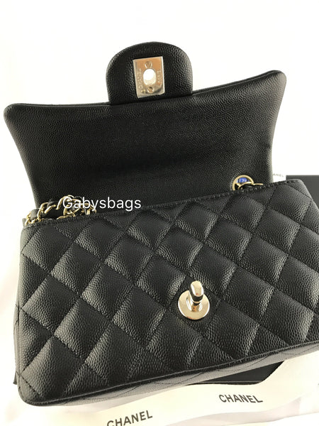 4b57a4d24e7 ... Authentic Chanel Classic Mini Rectangle Flap Bag Black Caviar Light  Gold Hardware 17 - Gaby s ...