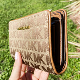 Michael Kors Jet Set Fabric Bifold Zip Coin Wallet Beige Multi Signature