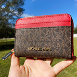 Michael Kors Jet Set Travel Zip Around Card Case Wallet Brown MK Flame Red