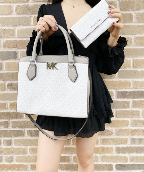 Michael Kors Mott Large Satchel Bright White MK Grey + Trifold Wallet SET