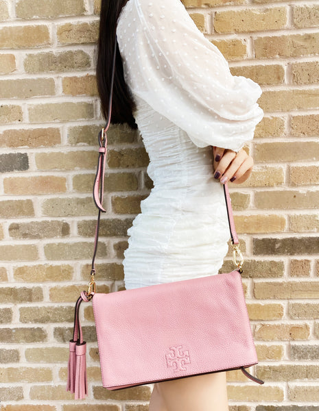 Tory Burch Thea Foldover Crossbody Large Messenger Bag Pink Magnolia Leather
