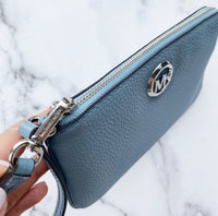 Michale Kors Fulton Large Top Zip Wristlet Wallet Powder Blue Pebbled Leather