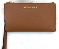 Michael Kors Jet Set Double Zip Wristlet Leather Phone Wallet Luggage Brown