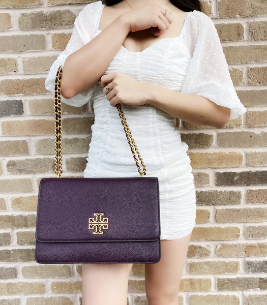 Tory Burch Britten Large Adjustable Shoulder Bag Crossbody Plum Purple Leather