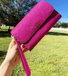 Kate Spade Lola Glitter Boxed Medium Phone Wristlet Wallet Clutch Hot PINK