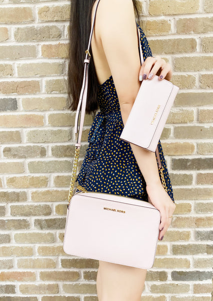 Michael Kors Jet Set East West Large Crossbody Blossom PINK + Trifold Wallet
