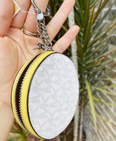Michael Kors Jet Set Round Coin Pouch Wallet Key Ring White MK Citrus Yellow