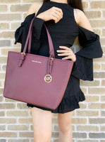 Michael Kors Jet Set Medium Carryall Tote Merlot - Gaby's Bags