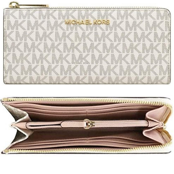 Michael Kors Jet Set Travel Large Quater 3/4 Zip Around Wallet Vanilla MK Pink