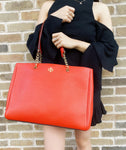 Tory Burch Carter Tote Large Center Zip Triple Compartment Poppy Red Leather