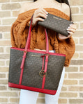 Michael Kors Jet Set Signature Small Top Zip Shoulder Tote Brown Red+ Wallet - Gaby's Bags