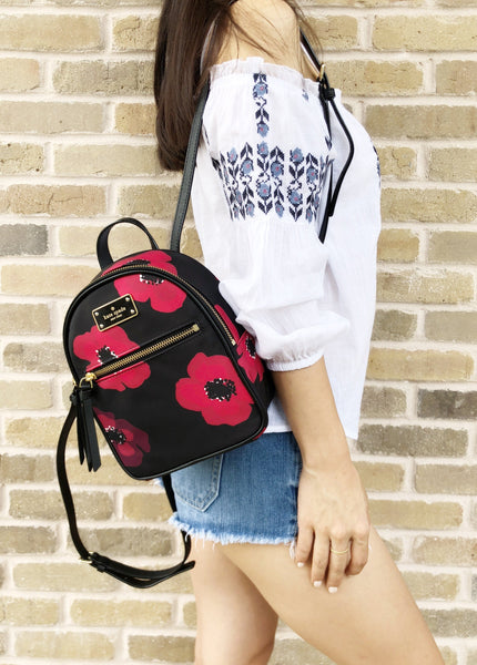 Kate Spade Wilson Road Poppy Mini Bradley Nylon Backpack Black Red Floral - Gaby's Bags