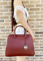 Michael Kors Houston Medium Double Zip Satchel Bag Brandy Red