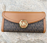 Michael Kors Jet Set Fulton Large Flap Continental Wallet Brown MK Logo