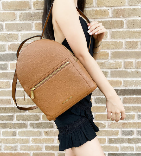 Michael Kors Abbey Jessa Medium Backpack Pebbled Leather Luggage Brown