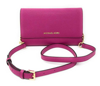 Michael Kors Jet Set Travel Crossbody Fuchsia Pink with Wristlet Clutch INSERT - Gaby's Bags