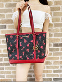 Michael Kors BARCELONA Jet Set Small Top Zip Tote Black Red