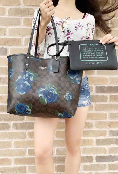 eebf076a7e13 Coach F36658 F37807 Reversible City Tote Signature Floral Black Jumbo  Floral w Zip Pouch - Gaby s