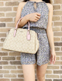 Coach F29683 Sage Carryall Satchel Light Khaki Carnation Pink - Gaby's Bags