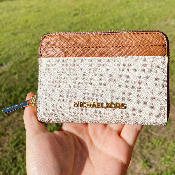 Michael Kors Jet Set Zip Around Card Case Wallet Vanilla MK Signature Luggage