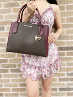 Michael Kors Kimberly Large East West Satchel Brown MK Mulberry Multi - Gaby's Bags