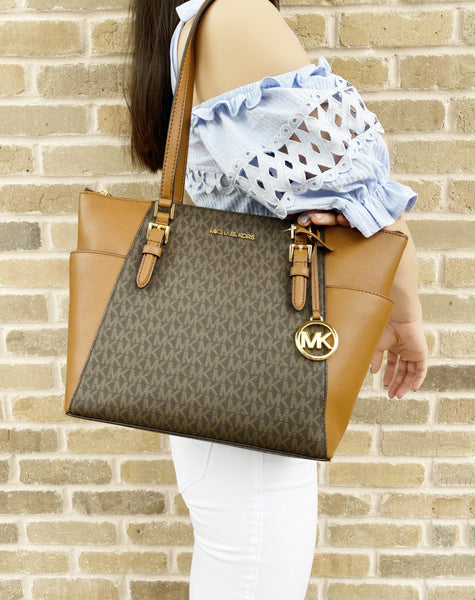 Michael Kors Charlotte Top Zip Tote Brown Signature Shoulder Bag