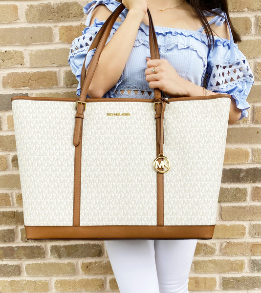 Michael Kors Jet Set Travel XL Tote Vanilla MK Acorn Signature