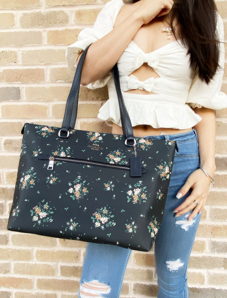 Coach 91023 Gallery Tote Rose Bouquet Print Midnight Multi Floral - Gaby's Bags