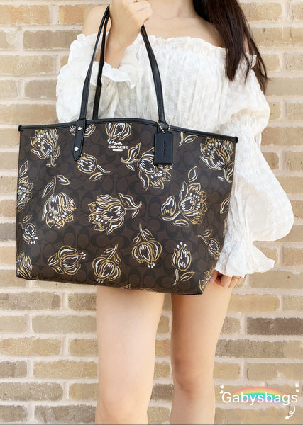 Coach F78282 Reversible City Tote Signature Brown Floral Metallic - Gaby's Bags