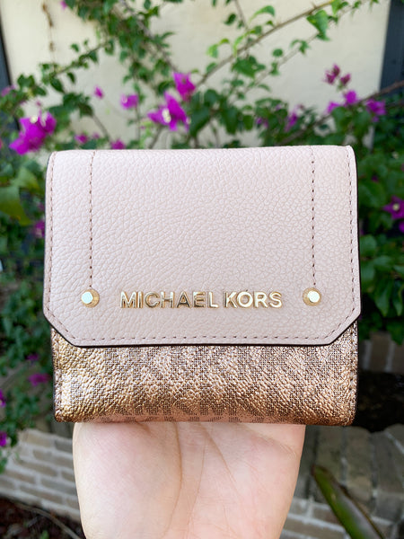 Michael Kors Hayes Medium Trifold Coin Case Rose Hold MK Signature Pink - Gaby's Bags