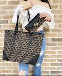 Michael Kors Lillian Large Top Zip Shoulder Tote Beige Black+ Fulton Wallet