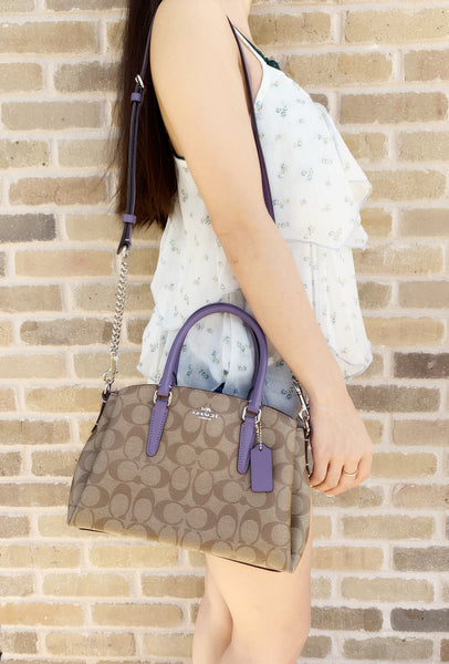 Coach F29434 Mini Sage Carryall Satchel Crossbody Signature Khaki Light Purple - Gaby's Bags