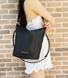 Michael Kors Brooke Medium Bucket Bag Hobo Tote Crossbody Black Leather Handbag