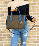 Michael Kors Hope Medium Messenger Brown MK Dark Chambray Satchel Shoulder Bag