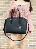 Michael Kors Ciara Large Top Zip Satchel Saffiano Leather Black 2019 - Gaby's Bags